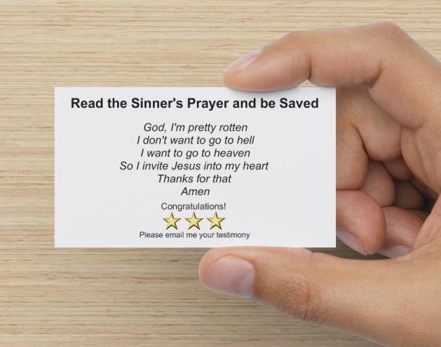 Sinner's Prayer card